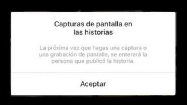 Aviso de Instagram acerca de las capturas que se hacen de las 'stories'.