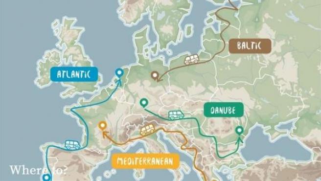 Mapa que muestra las cuatro rutas del proyecto Road Trip Project, puesto en marcha por la UE.