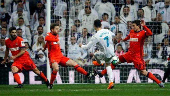 Cristiano Ronaldo, ante la Real Sociedad.