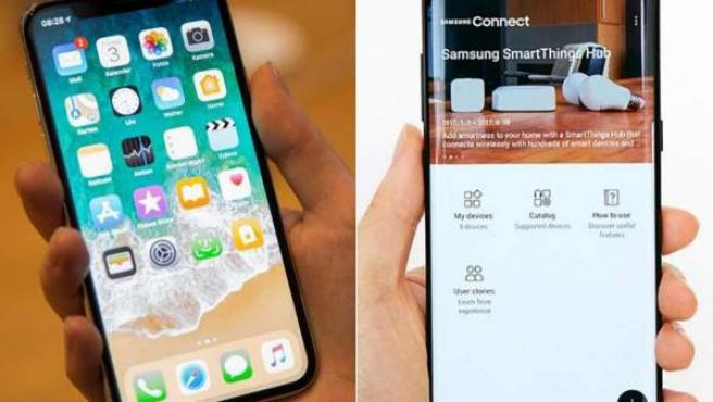 Iphone X y Galaxy S8.