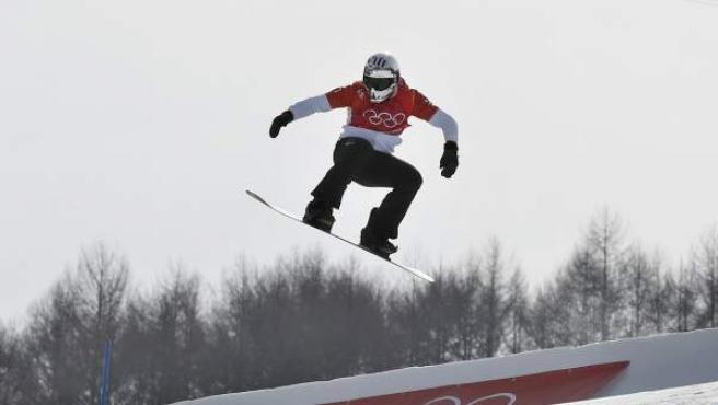 Regino Hernández, en su actuación en el snowboarder cross.