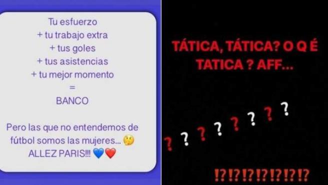Capturas de pantalla de las quejas de las esposas de Ángel di María y Thiago Silva contra Unai Emery.