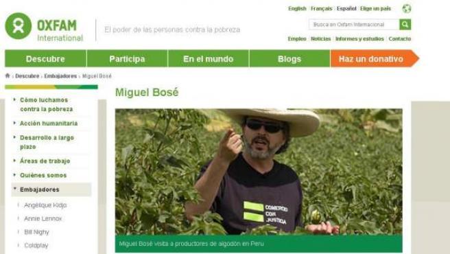 Imagen de la página de Oxfam en la que informa de Miguel Bosé como embajador.