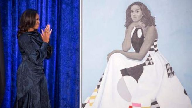 La ex primera dama estadounidense Michelle Obama aplaude a la pintora Amy Sherald, durante la presentación de su retrato y el del expresidente, Barack Obama, en la Galería Nacional de Retratos del Smithsonian, en Washington DC (EE UU).