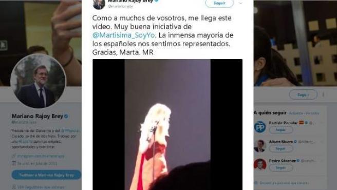 Tuit de Rajoy felicitando a Marta Sánchez por cantar su versión del himno de España.