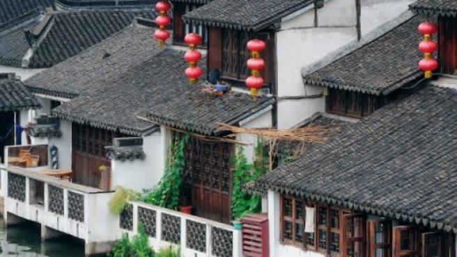 Unas viviendas tradicionales chinas.