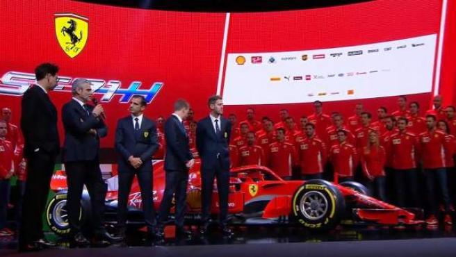 Presentación del Ferrari SF71H en Maranello.