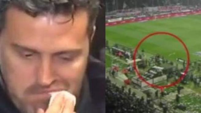 Combo de fotos con la agresión recibida por el entrenador del Olympiacos, el español Óscar García, en el campo del PAOK.