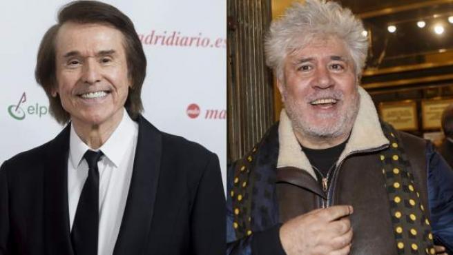 El cantante Raphael y el cineasta Pedro Almodóvar.