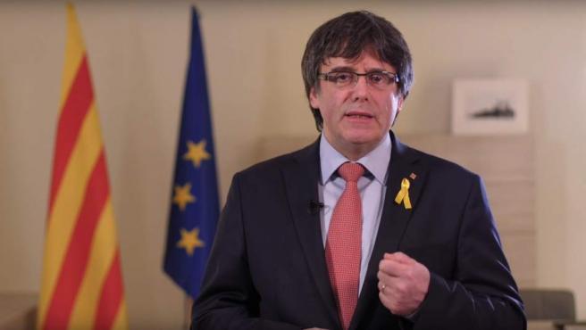 Carles Puigdemont durante el mensaje de este jueves, 1-M.