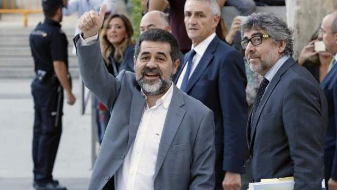 Jordi Sánchez, presidente de Omnium Cultural, llega a la Audiencia Nacional.