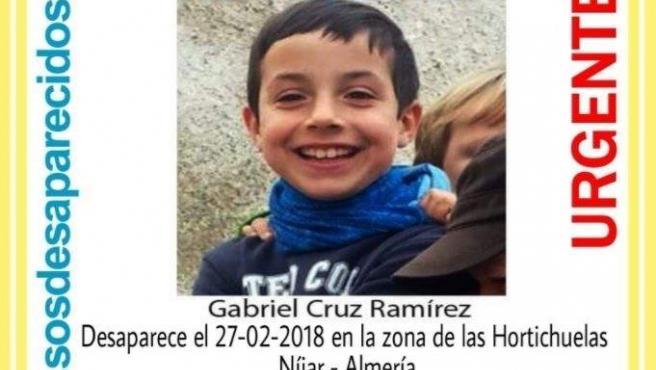 Gabriel Cruz, el menor desaparecido en Níjar (Almería).