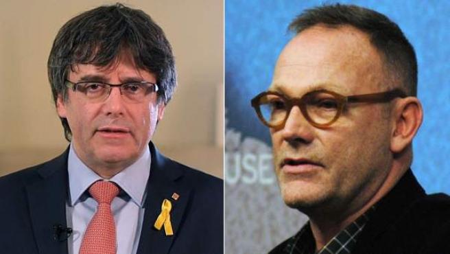 Combo de imágenes de Carles Puigdemont y su abogado, Ben Emmerson.