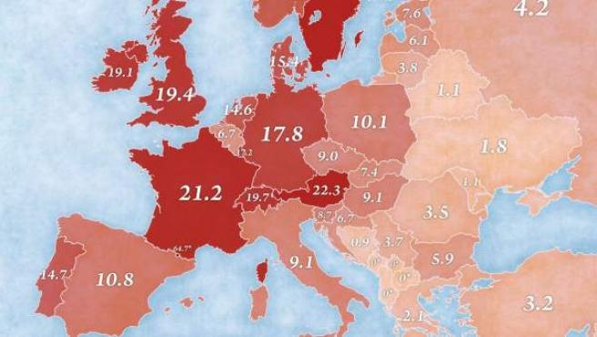 Mapa de Europa con el número de restaurantes de la cadena McDonald's por cada millón de habitantes.