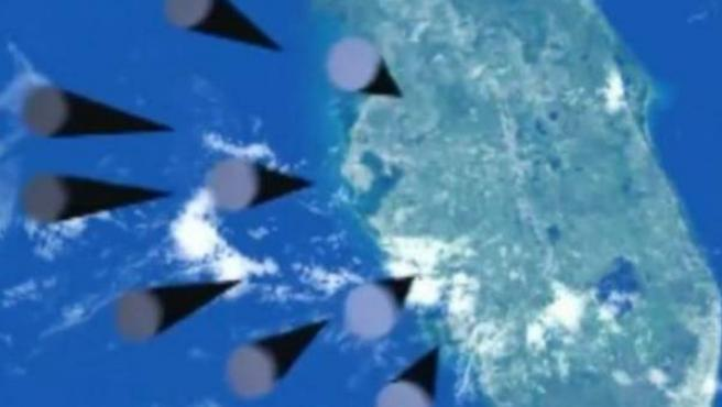 Recreación digital de bombas cayendo sobre la península de Florida.