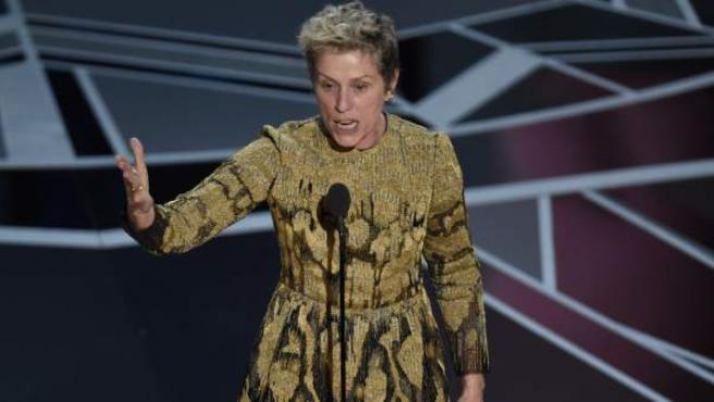 La actriz Frances McDormand, durante su discurso de agradecimiento en los Óscar.