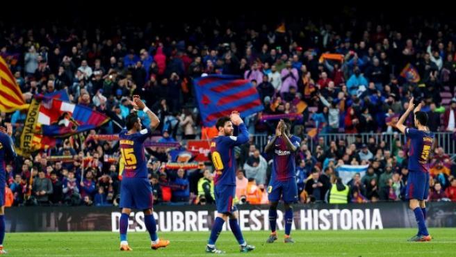 El Barça celebra un triunfo.