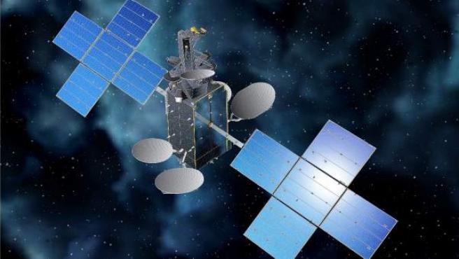 Una recreación del Hispasat 30W-6 (Hispasat 1F) ya desplegado en su órbita.
