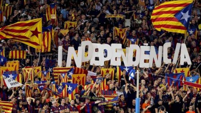 Proclamas independentistas en el Camp Nou.