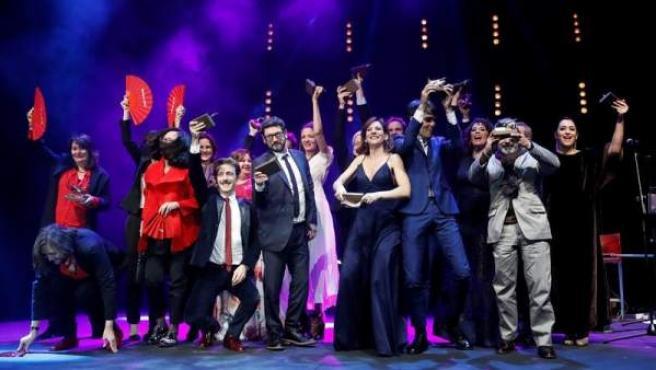 Los premiados en la 27 edición de los premios de la Unión de Actores y Actrices, en el Teatro Circo Price de Madrid.