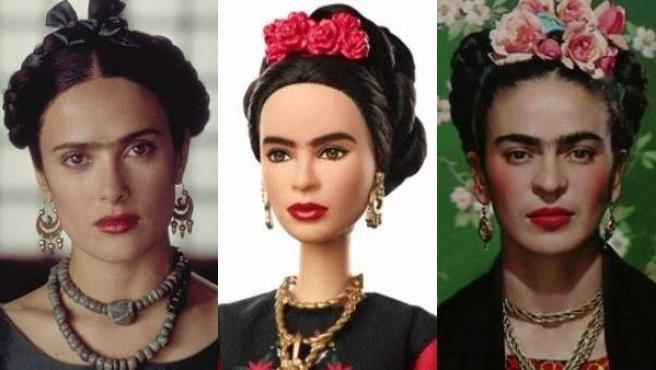 La actriz Salma Hayek caracterizada como Frida Kahlo; la muñeca Barbie de Frida Kahlo; y Frida Kahlo.