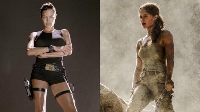 Angelina Jolie y Alicia Vikander, como Lara Croft en sus respectivas versiones de Tomb Raider.