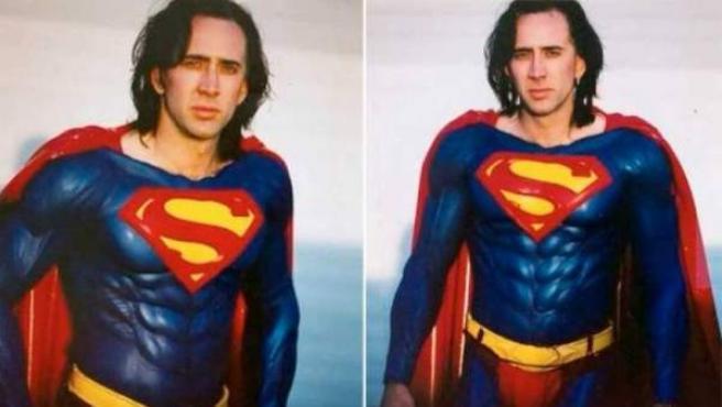 Nicolas Cage vestido como Superman durante una de las pruebas de vestuario del fallido proyecto de los 90 dirigido por Tim Burton.