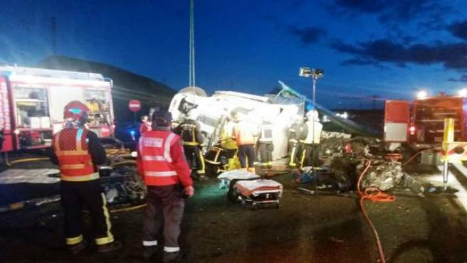 Accidente mortal en la AP-15 en Unzué