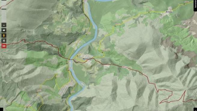 Captura de pantalla del mapa de IDENA de la ruta GR-220 a su paso por Belascoain