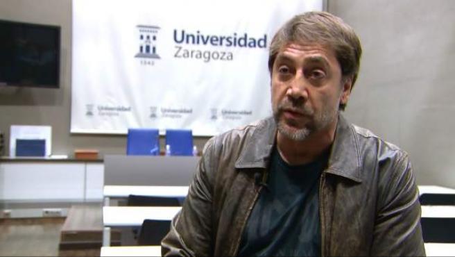El actor español Javier Bardem participa en un coloquio en la Universidad de Zaragoza.