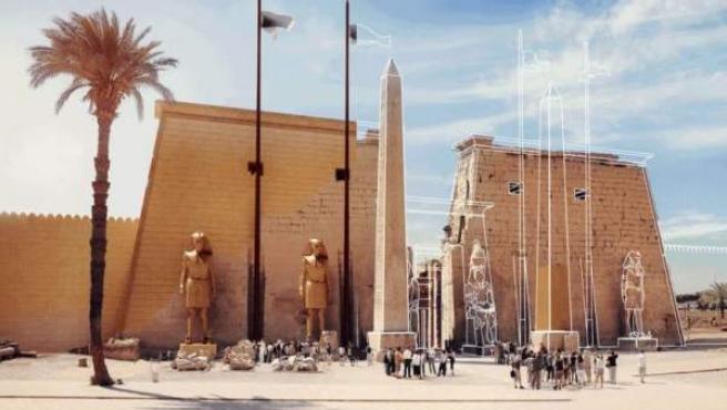 Animación que recrea el aspecto original del Templo de Luxor en Egipto.