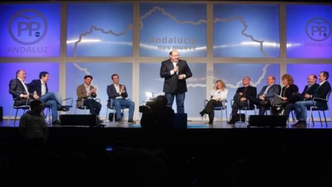 Sebastián Pérez interviene en el acto del PP en Marbella (Málaga)