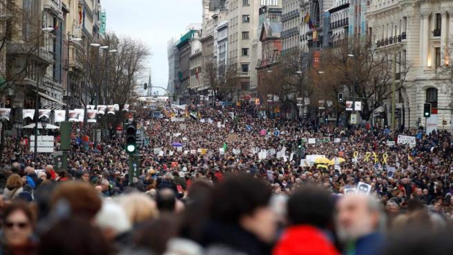La manifestación convocada por la Coordinadora Estatal por la Defensa del Sistema Público de Pensiones ha discurrido en la calle Alcalá, en Madrid.