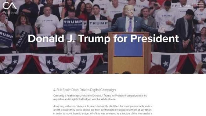 Caputra de la web de la consultora Cambridge Analytica respecto a su trabajo con la campaña de Donald Trump.