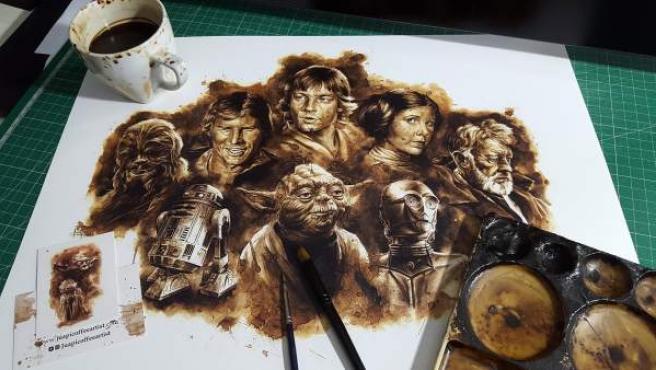 Personajes de la saga Star Wars pintados con café por Juapi. Pueden verse en la Escuela de Arte ESDIP hasta el próximo 9 de abril.