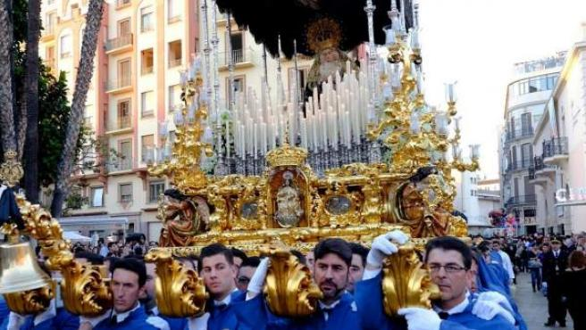 Una de las procesiones de la Semana Santa de Málaga.