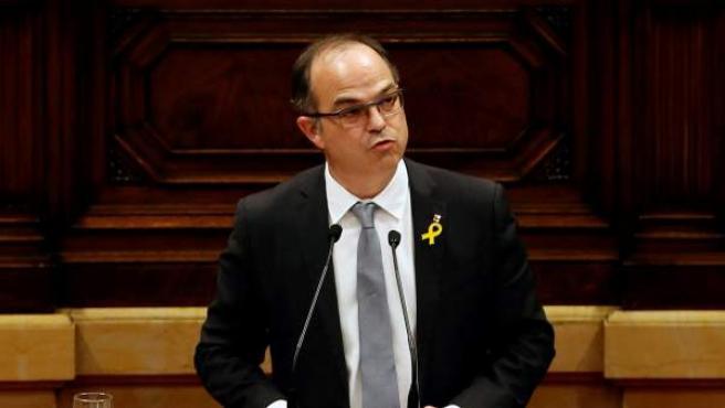 El candidato de Junts per Catalunya (JxCat) , Jordi Turull, comparece en el Pleno de investidura del Parlament.