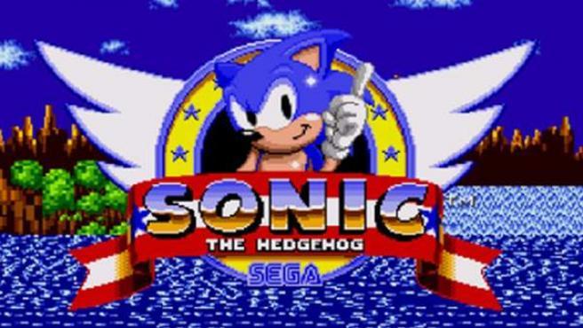 Pantalla de inicio del videojuego 'Sonic The Hedgehog' de Mega Drive.