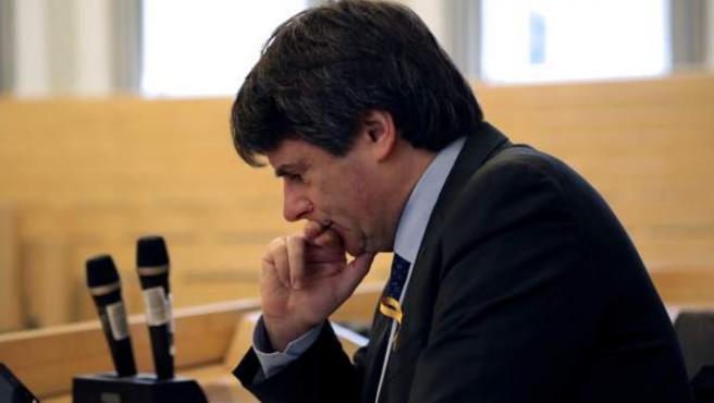 El expresidente catalán Carles Puigdemont antes de pronunciar una conferencia en la Universidad de Helsinki.