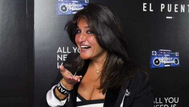 Aida Nízar durante una fiesta por el final de un programa de televisión, en 2018.