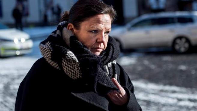 Betina Hald Engmark, abogada del acusado, a su llegada al tribunal de Copenhague (Dinamarca).