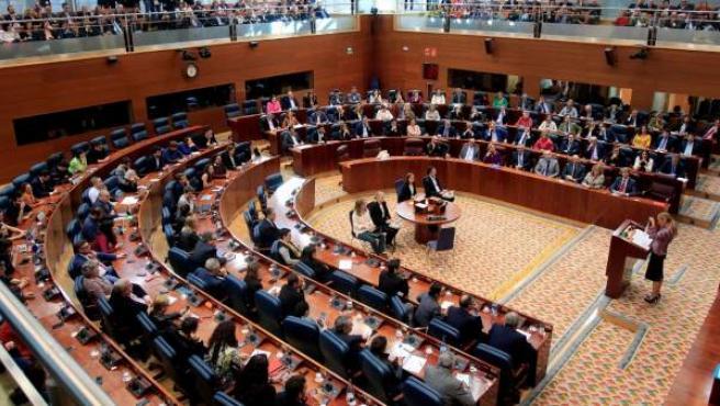 Vista general del pleno extraordinario de la Asamblea de Madrid, durante la comparecencia de Cristina Cifuentes.