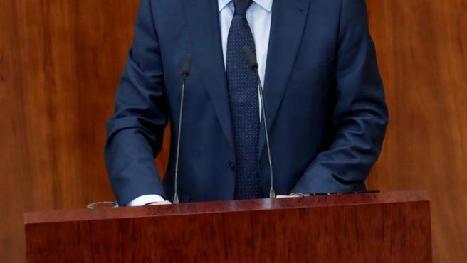 Ángel Gabilondo durante un pleno extraordinario de la Asamblea de Madrid.