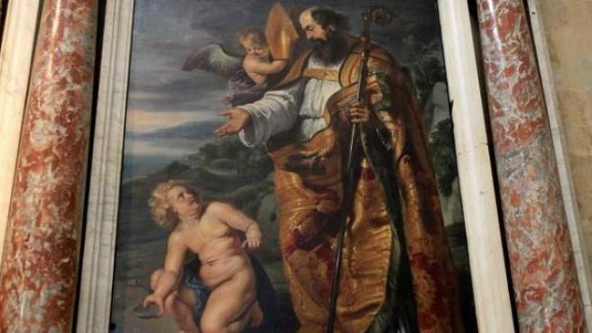 El lienzo de San Agustín, obra del pintor flamenco Peter Paul Rubens que se encuentra en el retablo de la iglesia de la Purísima de Salamanca.