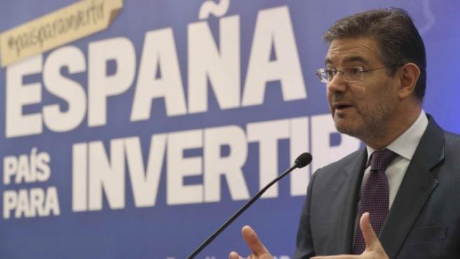 El ministro de Justicia, Rafael Catalá, durante la intervención de la jornada 'España, país para invertir'.