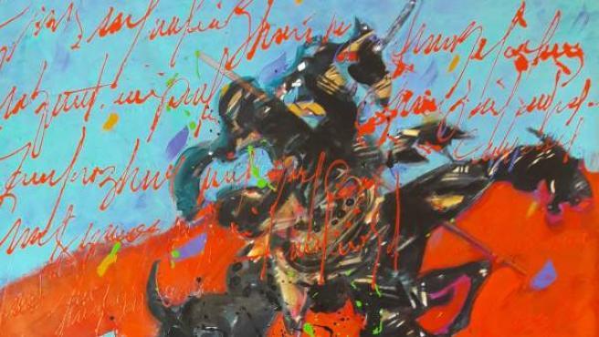 Donato Grima. El día que Cervantes soñó al Quijote. 2018. Acrílico sobre tela. 150x150 cm