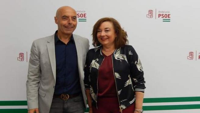 Antonio Hurtado y Soledad Pérez en la sede del PSOE de Córdoba