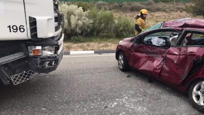 Estado en el que ha quedado el vehículo de las tres mujeres