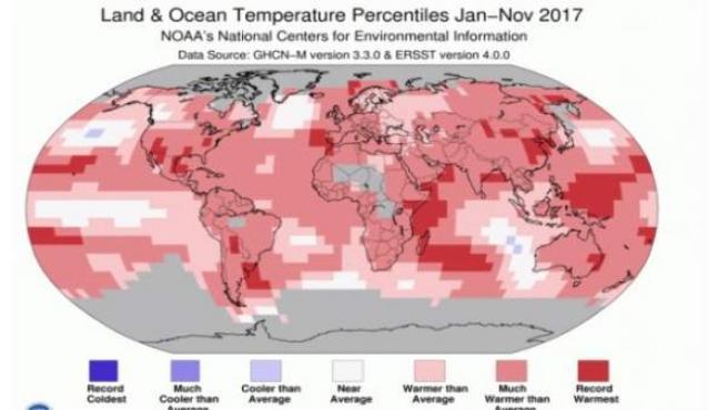 Temperaturas globales en el año 2017