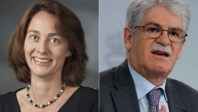 La ministra de Justicia de Alemania, Katarina Barley, en un montaje de fotos junto al ministro español de Exteriores, Alfonso Dastis.